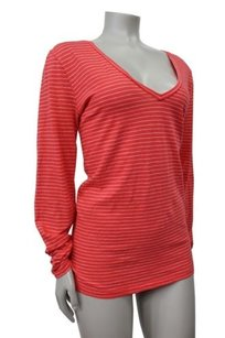 J.Crew Vintage Cotton Long Sleeve Top coral white