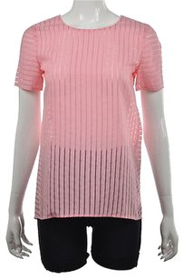 J.Crew Womens Striped 0 Short Sleeve Casual Shirt Top Pink