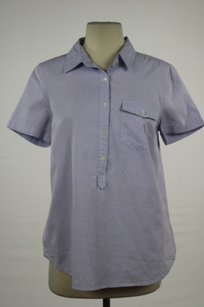 J.Crew Womens Cotton Casual Shirt Short Sleeve Polka Dot Top Purple