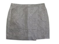J.Crew Textured Cocktail Paisley Print Faux Wrap Skirt Metallic