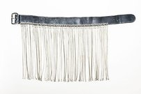 Jean-Paul Gaultier Jean Paul Gaultier Charcoal Gray Silver Tone Leather Metal Fringe Waist Belt