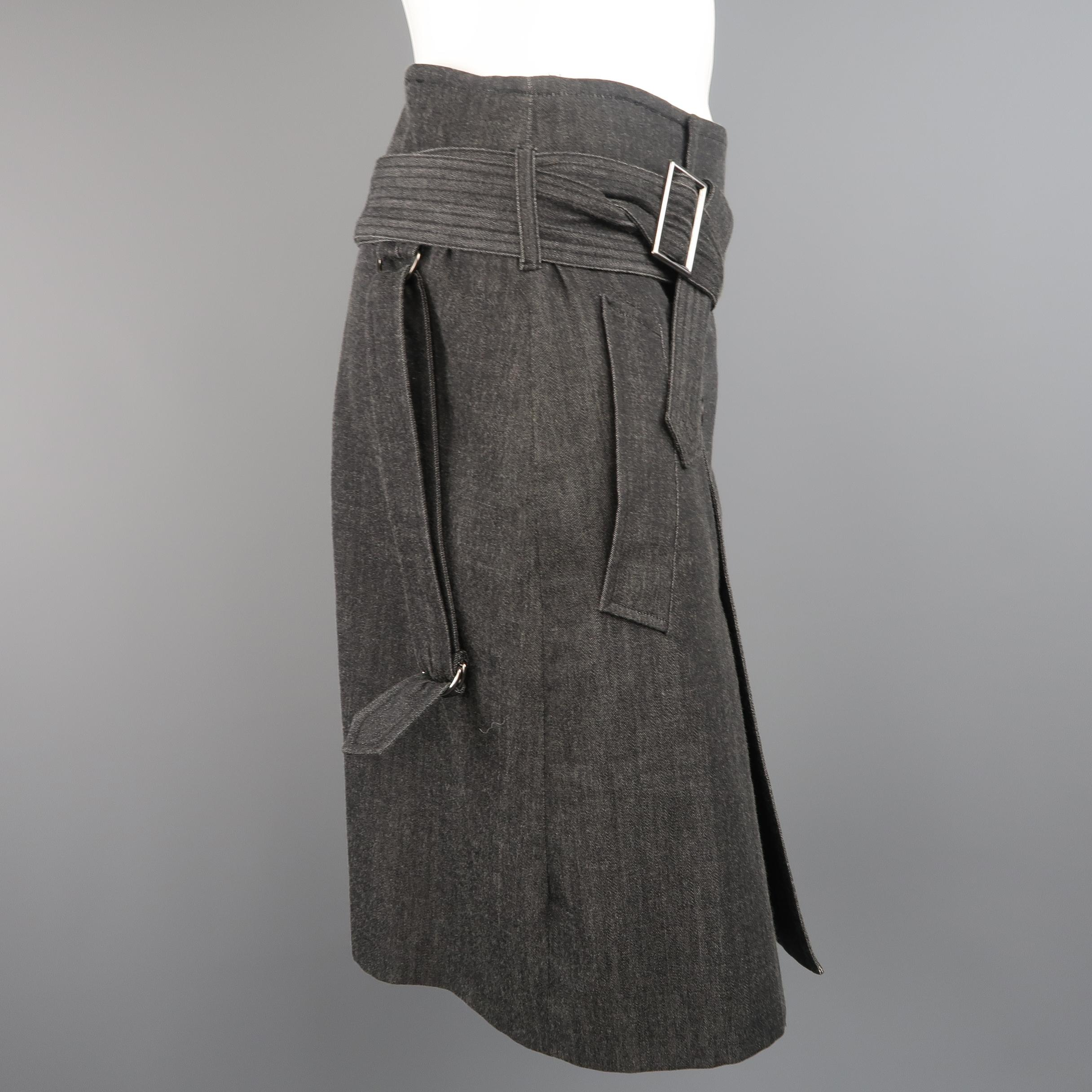 jean paul gaultier gray charcoal rayon denim belted trench