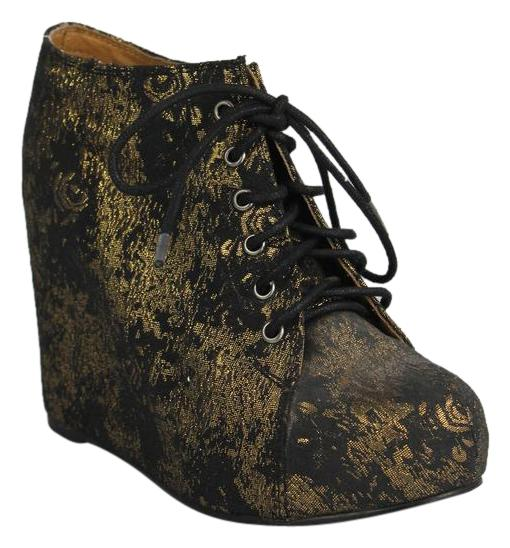 81076661233 Jeffrey Campbell Black  Gold Embroidered Embroidered Embroidered Wedge Boots  Booties Size US 8 Regular