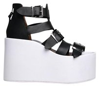 Jeffrey Campbell Wedge Platforms T-strap Buckles Zipper Closure Black White Sandals
