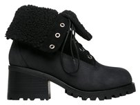 Jeffrey Campbell Lace Up Weatherproof Stacked Heel Weatherproof Leather Ankle Blacks Boots