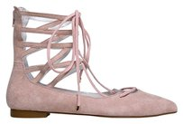 Jeffrey Campbell Ballet Up Pointed Toe Zipper Closure Suede Pink Flats