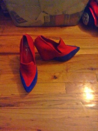 Jeffrey Campbell Zinger Red and blue Platforms