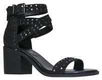Jessica Simpson Ankle Strap Chunky Heel Studded Open Toe Black NBPU Sandals