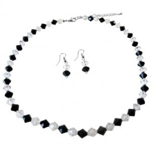 Jet W/ Clear Crystals Necklace Jet Black White Combo Gift Jewelry
