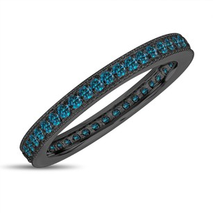 Eternity Fancy Blue Diamond Wedding Band Eternity Ring Anniversary Ring Stackable Ring 14k Black Gold Vintage Style
