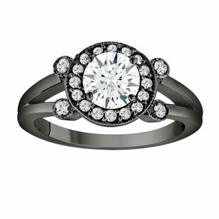 White Sapphire Engagement Ring 14k Black Gold Vintage Style 1.08 Carat With Side Diamonds Unique Halo Pave Handmade