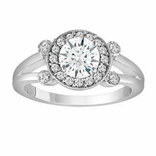 White Sapphire Engagement Ring 14k White Gold 1.08 Carat With Side Diamonds Unique Halo Pave Handmade Certified