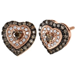 Other 10k Rose Gold Brown White Round Diamond Heart Stud Halo Earrings 10.5mm 58 Ct