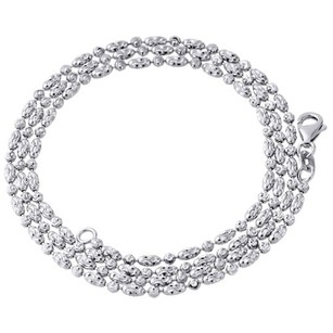 10k White Gold 2mm Beaded Typhoon Moon Cut Italian Chain Necklace - Inch
