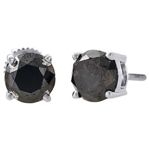 Other 10k White Gold Black Solitaire Round Diamond Studs 6.70mm Aaa Earrings Ct.