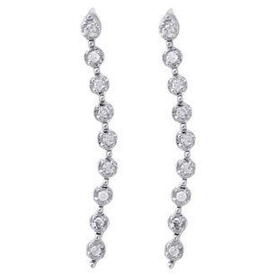 Other 10k White Gold Diamond Dangler Fanuk Set 0.74 Long Journey Earrings 120 Ct.