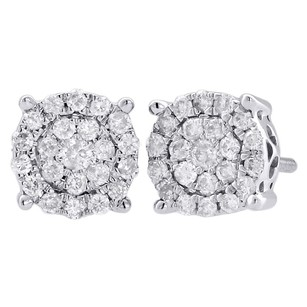 Jewelry For Less 10k White Gold Diamond Flower Studs 7.70mm Circle Earrings 0.50 Ct.