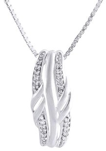 Other 10k White Gold Diamond Ladies Curved Slide Fashion Pendant 18 Chain 0.06 Ct.
