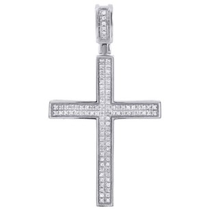 Jewelry For Less 10k White Gold Diamond Mini Cross Pendant 0.33 Ct. Pave Set Concave Charm 1.62