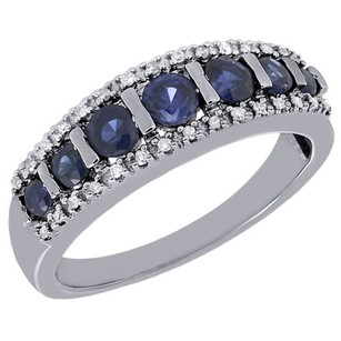 Other 10k White Gold Genuine Diamond Created Blue Sapphire Wedding Band 0.96 Ct. Tw