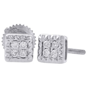 10k White Gold Genuine Diamond Stud Fluted Design Square 5.10mm Earrings 0.10 Ct