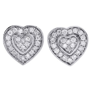 10k White Gold Round Cut Diamond Ladies 9.50mm Heart Stud Pave Earrings 0.50 Ct.