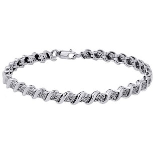 10k White Gold Round Cut Diamond S-link Tennis Bracelet 7.25 Pave Set 0.50 Ct.