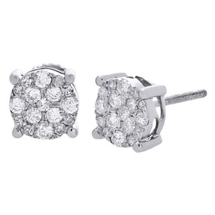 10k White Gold Round Cut Diamond Studs 0.48 Ct. Earrings Solitaire Look Mm