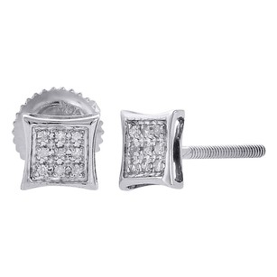 Jewelry For Less 10k White Gold Round Diamond Earrings Mens Ladies Pave Set Kite Stud 120 Ct.