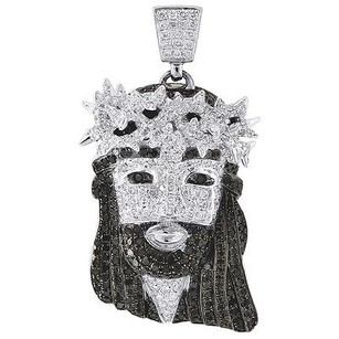 Jewelry For Less 10k White Gold White Black Diamond Solid Jesus Piece Head Charm Pendant Ct.