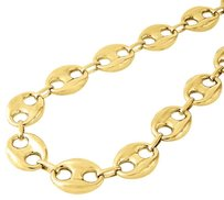 10k Yellow Gold 16mm Wide Puffed Gucci Mariner Link Chain Necklace 30-36 Inches