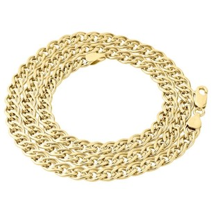 10k Yellow Gold 6mm Double Cuban Curb Italian Link Chain Necklace - Inch