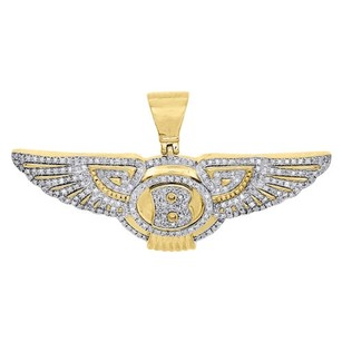 10k Yellow Gold Diamond Bentley Pendant Mens Flying B Logo Wing Charm 1 Ct.