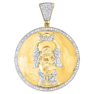 Jewelry For Less 10k Yellow Gold Diamond Buddha Pendant Round Cut Pave Medallion Charm 1.20 Ct.
