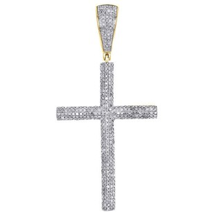 Jewelry For Less 10k Yellow Gold Diamond Cross Pendant Tube Domed Mens Pave 2.10 Charm 0.89 Ct.
