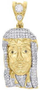 10k Yellow Gold Diamond Jesus Face Piece Pendant 1.30 Mens Pave Charm 0.75 Ct.