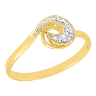 Other 10k Yellow Gold Diamond Ladies Swirl Promise Fashion Band Right Hand Ring .05 Ct