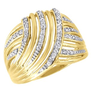 Jewelry For Less 10k Yellow Gold Diamond Ladies Swirled Fashion Band Right Hand Ring 0.10 Ct.