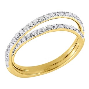 10k Yellow Gold Diamond Ladies Twist Overlay Fashion Band Right Hand Ring .25 Ct