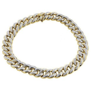 Jewelry For Less 10k Yellow Gold Diamond Miami Cuban Bracelet 9.5mm Links 8.50 Box Clasp Ct