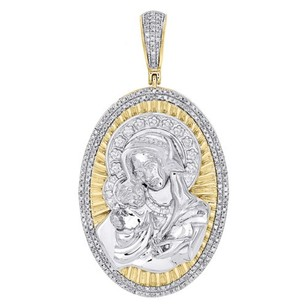 10k Yellow Gold Diamond Mother Mary Baby Jesus Pendant Oval Pave Charm 12 Ct.