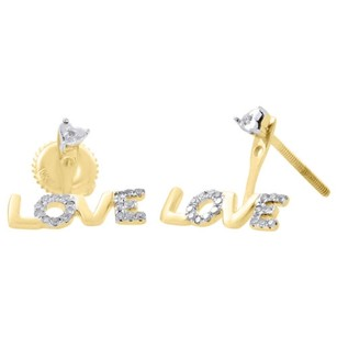 10k Yellow Gold Diamond Stud Love Ladies Dangle Earrings 12.60mm Pave 0.10 Ct.