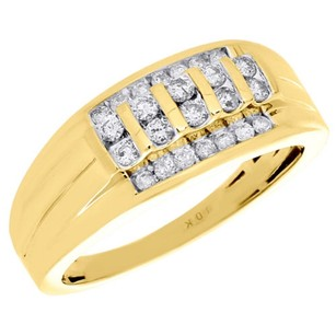 10k Yellow Gold Diamond Wedding Band Mens Channel Set 9mm Engagement Ring 12 Ct