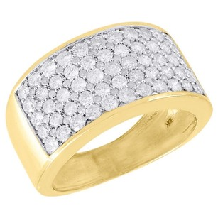 10k Yellow Gold Diamond Wedding Band Mens Round Cut Pave Engagement Ring Ct