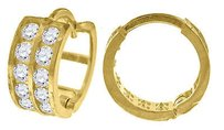 Jewelry For Less 10k Yellow Gold Double Row Cz Hinged Hoop 0.42 Fashion Earrings