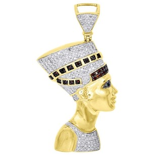 10k Yellow Gold Egyptian Queen Nefertiti Mens Real Diamond Pendant Charm 1 Ct.
