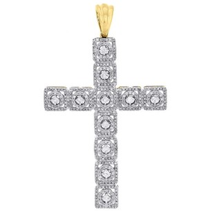 Jewelry For Less 10k Yellow Gold Genuine Diamond Cross Pendant 2.1 Double Row Halo Charm 0.93 Ct