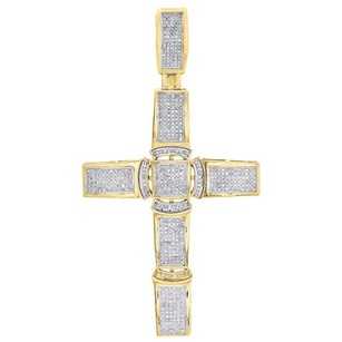 Jewelry For Less 10k Yellow Gold Genuine Diamond Cross Pendant 2.9 Mens Domed Pave Charm 78 Ct.