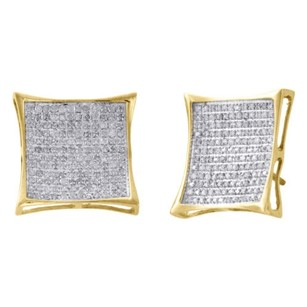 Jewelry For Less 10k Yellow Gold Genuine Diamond Pave Studs 16.95mm Kite Earrings 0.88 Ct.