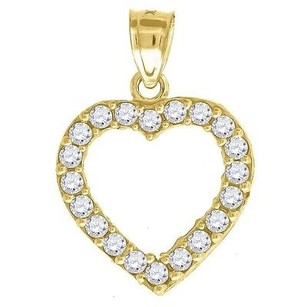 Jewelry For Less 10k Yellow Gold Heart Cz Pendant 0.95 Cut Out Charm